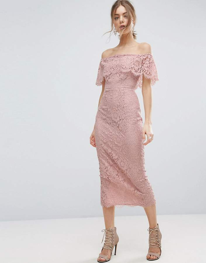 AsosASOS Lace Bardot Longer Length Midi Pencil Dress