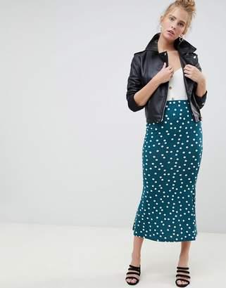 Asos Design DESIGN midi skirt with kickflare in polka dot print