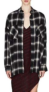 Amiri Women's Metallic Plaid Flannel Oversized Shirt - Black