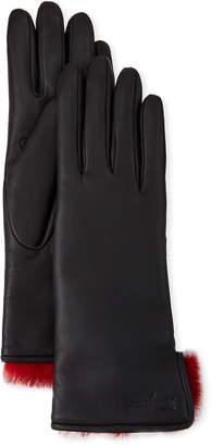Salvatore Ferragamo Fur-Lined Leather Gloves