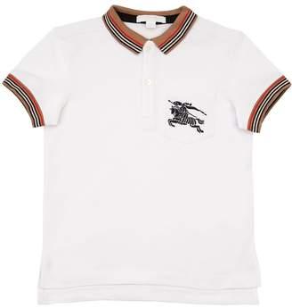 Burberry Logo Embroidered Cotton Piqué Polo Shirt