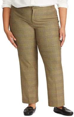 Lauren Ralph Lauren Plus Glen Plaid Straight-Leg Pants