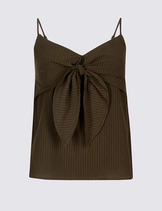 Limited Edition Cotton Rich Striped Tie Front Vest Top