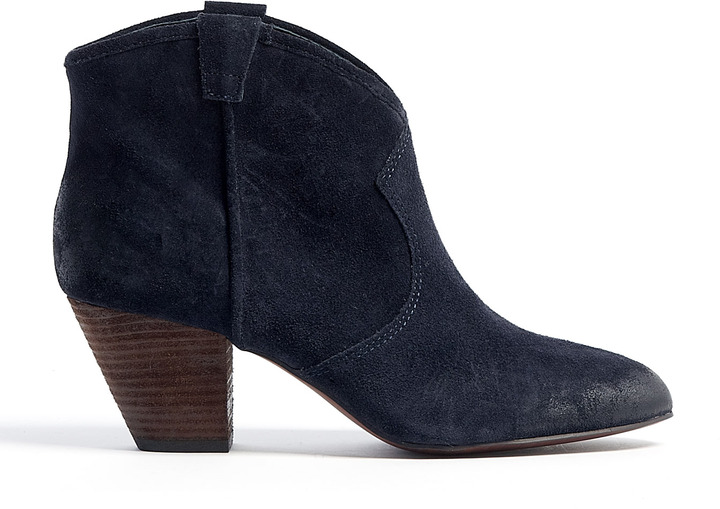 Ash Midnight Navy Brushed Suede Jalouse Ankle Boots