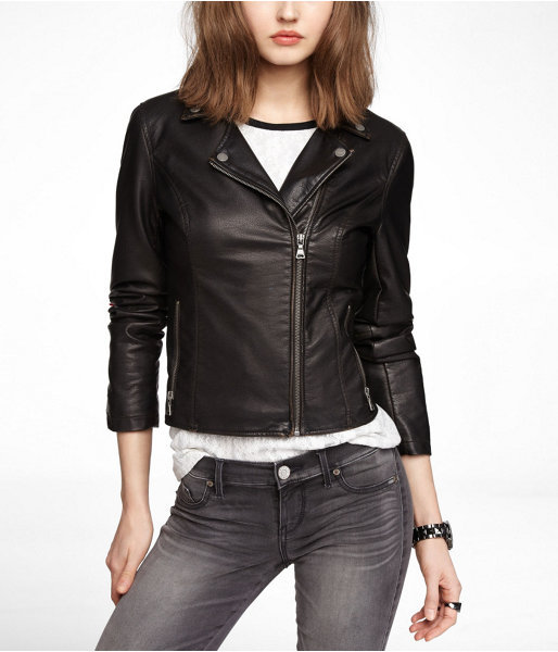 Express (Minus The) Leather Distressed Moto Jacket
