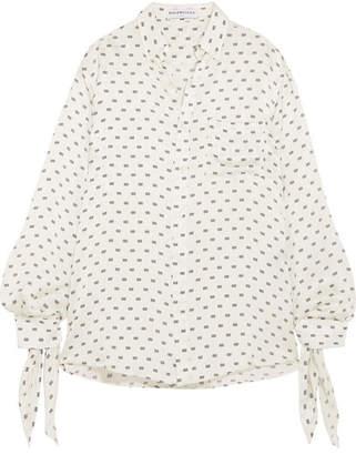 Balenciaga Knotted Printed Silk-satin Jacquard Shirt - White