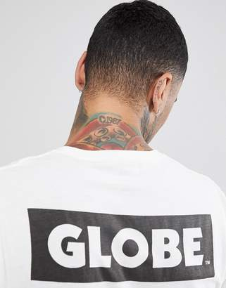 Globe T-Shirt With Back Sticker Logo Print In White