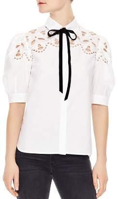 Sandro Cubisme Lace & Ribbon-Detail Cotton Top