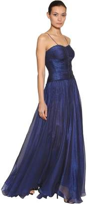 Maria Lucia Hohan Metallic Silk Mousseline Gown Dress