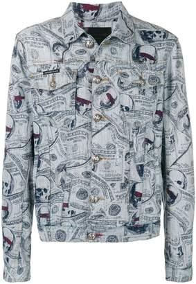 Philipp Plein money and skull print denim jacket