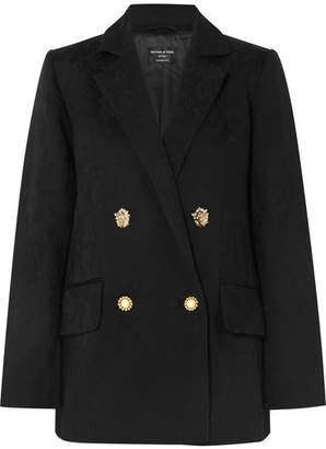 Mother of Pearl Francis Double-breasted Organic Cotton And Wool-blend Jacquard Blazer - Black
