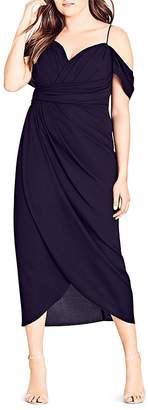 City Chic Entwine Ruched Cold-Shoulder Maxi Dress