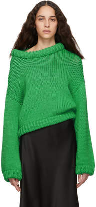 Tibi Green Cropped Sweater