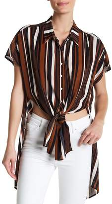 HYFVE Short Sleeve Stripe Front Tie Blouse