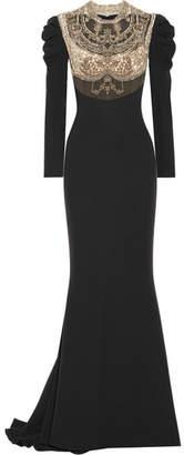 Reem Acra - Embellished Tulle-paneled Silk Crepe De Chine Gown - Black