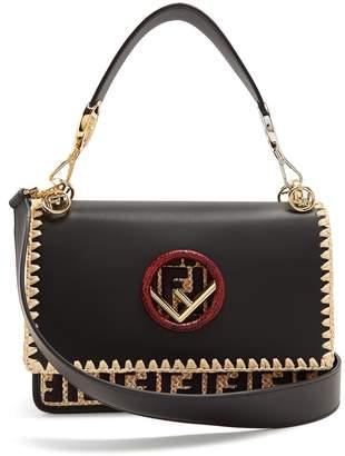 Fendi Kan I embroidered-raffia leather shoulder bag