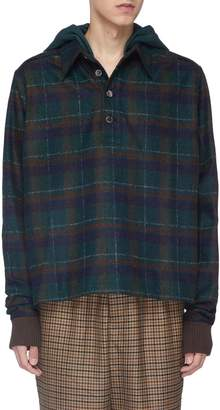 Leon Necessity Sense 'Leon' check plaid hooded melton polo shirt