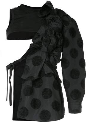 Comme des Garcons Pre-Owned flocked dots deconstructed coat