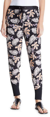 3.1 Phillip Lim Floral Leaf Crepe Jogger Pants with Piping