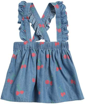 Stella McCartney Cherry Print Chambray Skirt W/Suspenders