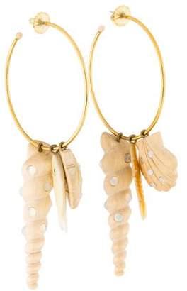 Mother of Pearl Rebecca de Ravenel & Wood Tallulah Charm Hoop Earrings