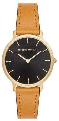 Rebecca Minkoff Major Leather Strap Watch, 35mm