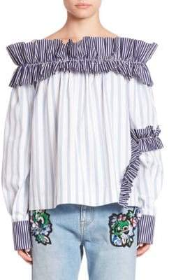 MSGM Long Sleeve Ruffled Off-The-Shoulder Top