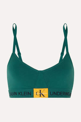 Calvin Klein Underwear Monogram Stretch-cotton Jersey Soft-cup Triangle Bra - Green