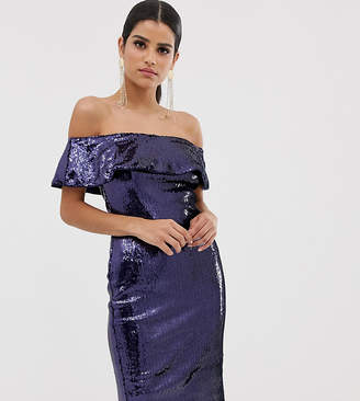 TFNC Tall Off Shoulder Sequin Bandeau Midi Dress