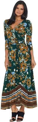 Du Jour Regular Floral Printed Faux Wrap Knit Maxi Dress
