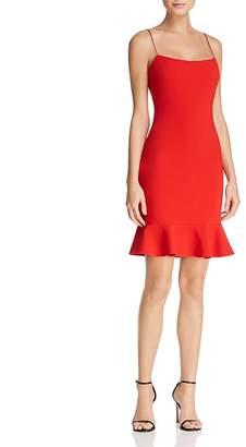 LIKELY Banks Flounced-Hem Slip Dress
