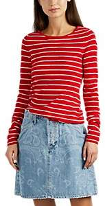 Barneys New York WOMEN'S STRIPED CASHMERE SWEATER - RED SIZE XS
