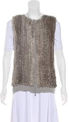 St. John Fur-Paneled Cashmere Vest