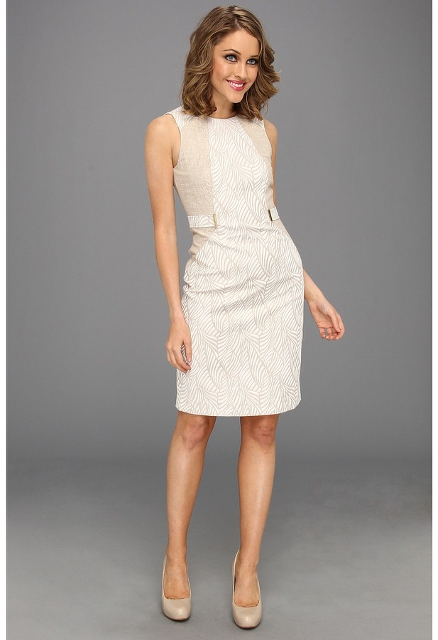 Calvin Klein Tab Waist Dress (Latte/Ivory Combo) - Apparel