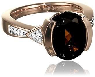 Celesta Diamonds by Ellen K. Women's Ring 375 Red Gold Partly Rhodium-Plated with Round-Cut Diamond Quartz Brown (0,04 Carat Size 50 (15.9) - 316370010–2 red