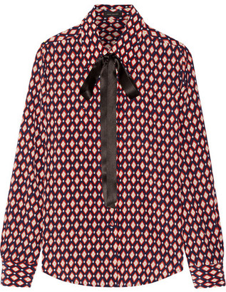 Marc Jacobs - Pussy-bow Printed Silk Crepe De Chine Shirt - Red $425 thestylecure.com