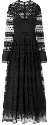 Philosophy di Lorenzo Serafini Piqué-trimmed Lace Maxi Dress - Black
