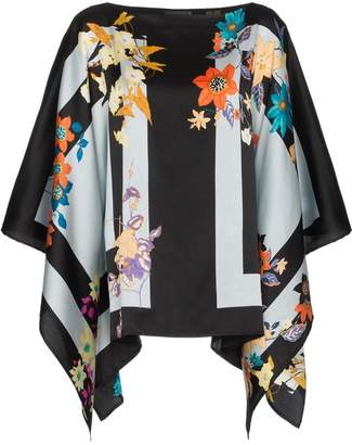 Etro floral stripe print silk blend poncho top