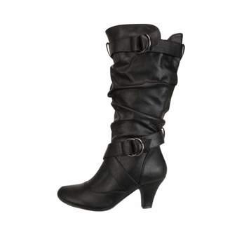 Anxinke Women Fashion Buckle Strap Kitten Heel Mid-Calf Boots