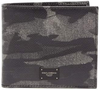 Dolce & Gabbana Camouflage-print bi-fold leather wallet