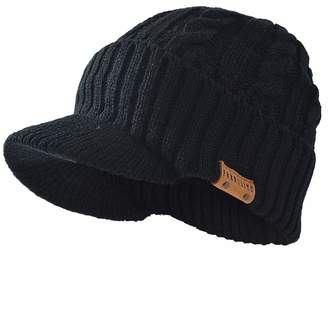 5abea663974 FORBUSITE Mens Waterproof Cable Knit Winter Beanie Visor Hat Oversized  (Black)