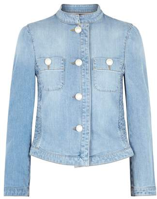 Moschino Blue Shirred Denim Jacket