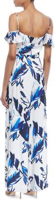 Julia Jordan Floral Off-The-Shoulder Tie-Front Jumpsuit