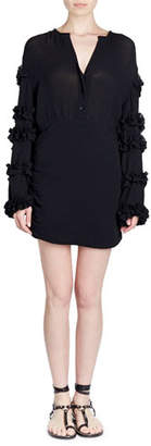 Isabel Marant Celest Button-Front Ruffled-Sleeve Cotton Gauze Short Dress