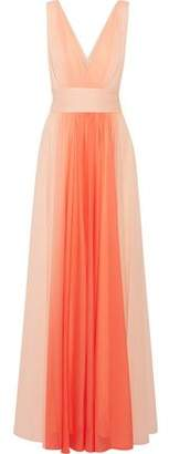 Halston Ombré Pleated Chiffon Gown