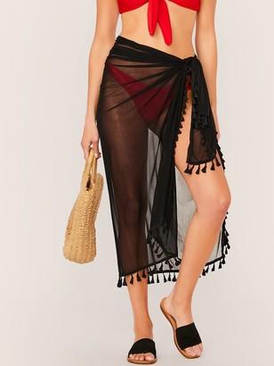 Shein Tassel Trim Sheer Cover Up Skirt