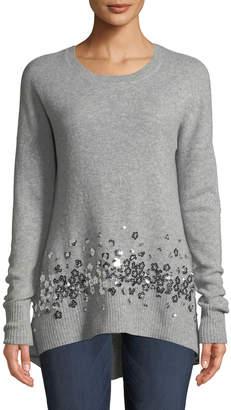 Neiman Marcus Cashmere Sequined-Hem Tunic, Grey