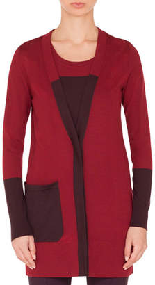 Akris Punto Twin-Set Colorblocked Wool Cardigan