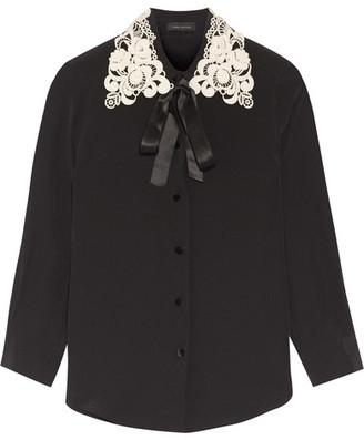 Marc Jacobs - Guipure Lace-trimmed Silk Crepe De Chine Shirt - Black $550 thestylecure.com