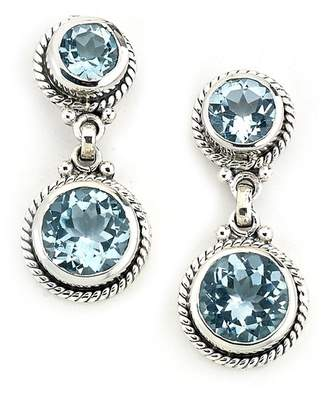 Samuel B Jewelry Sterling Silver Bezel Set Faceted Blue Topaz Double Drop Earrings